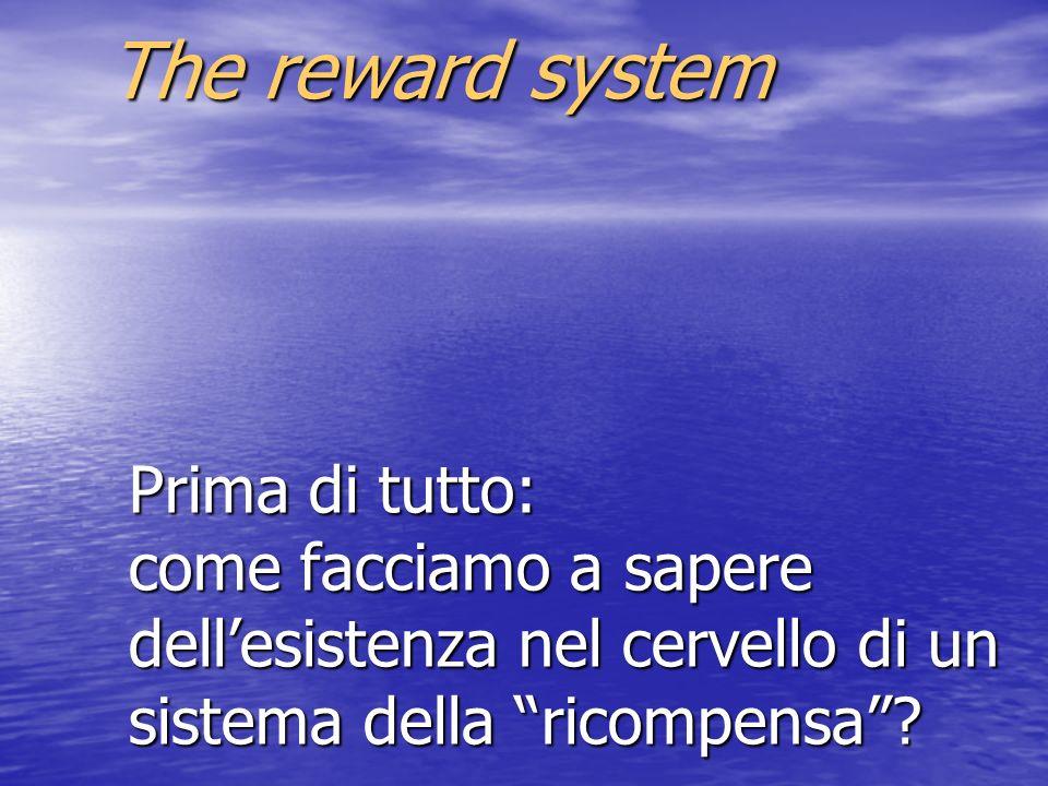 The reward system Prima di tutto: come facciamo a sapere dell'esistenza nel cervello di un sistema della ricompensa