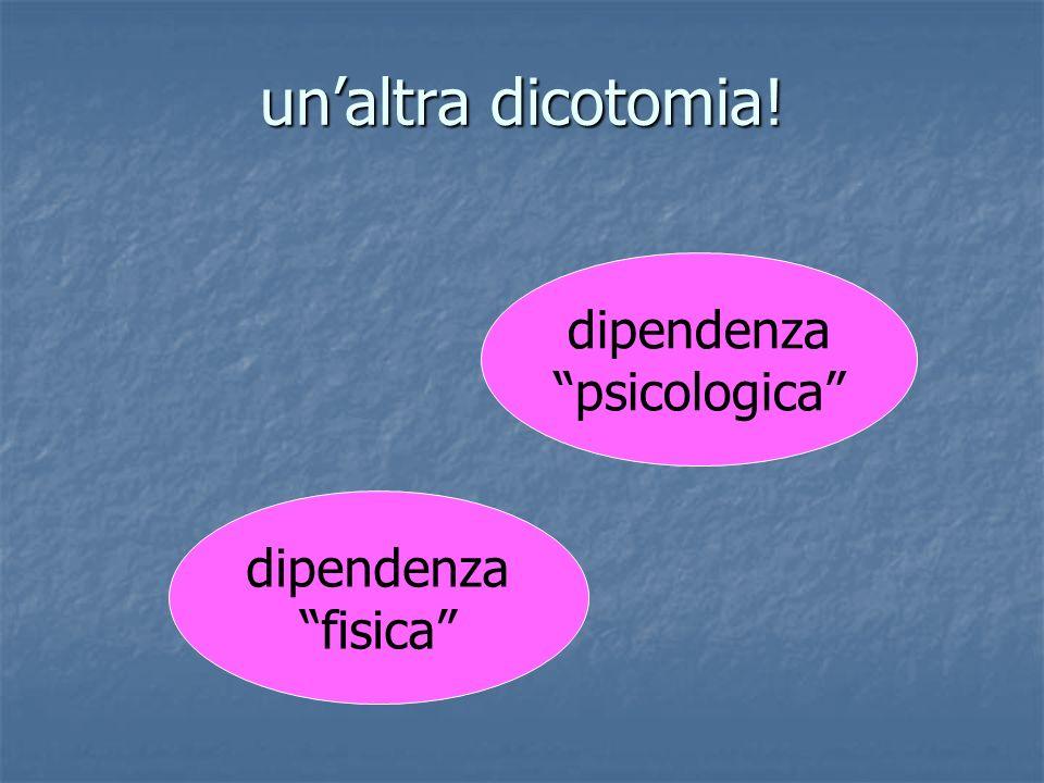 un'altra dicotomia! dipendenza psicologica dipendenza fisica