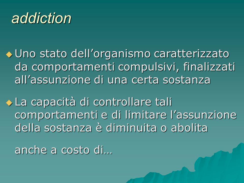 addiction Uno stato dell'organismo caratterizzato da comportamenti compulsivi, finalizzati all'assunzione di una certa sostanza.
