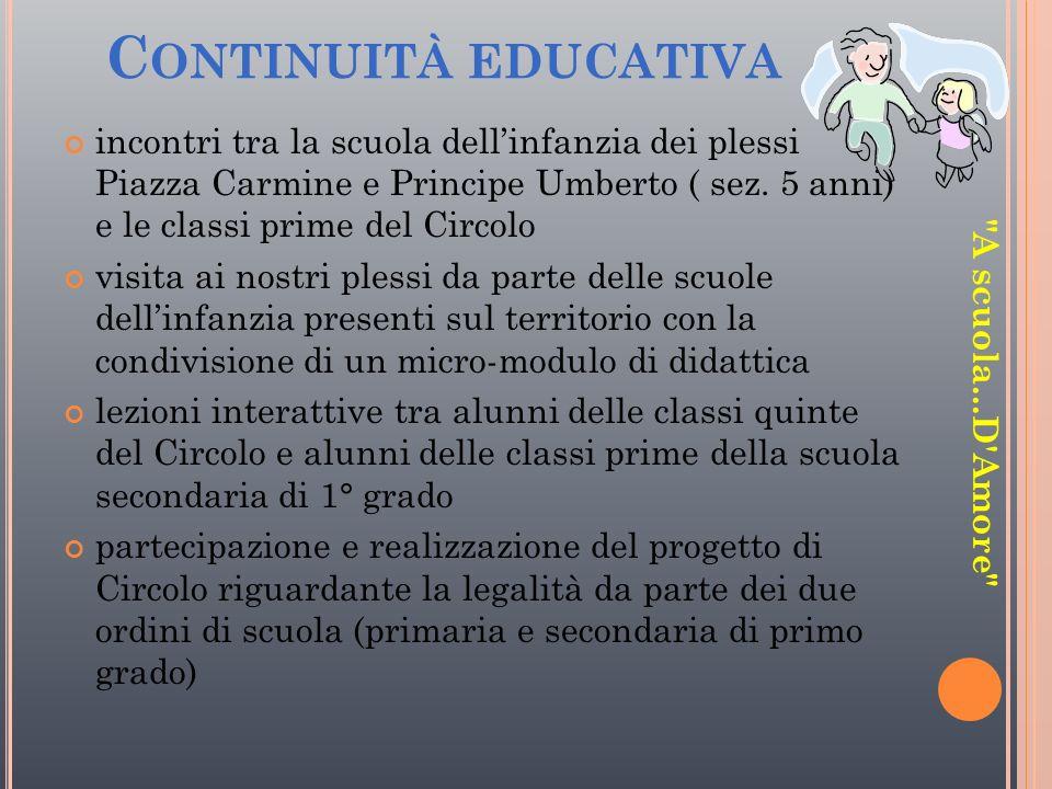 Continuità educativa incontri tra la scuola dell'infanzia dei plessi Piazza Carmine e Principe Umberto ( sez. 5 anni) e le classi prime del Circolo.