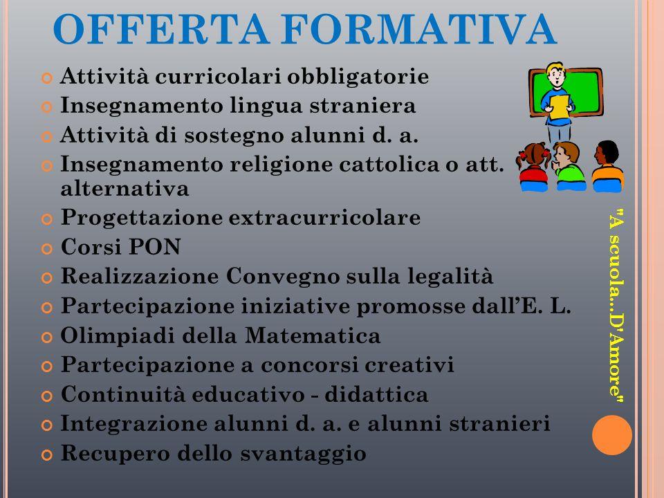 OFFERTA FORMATIVA Attività curricolari obbligatorie