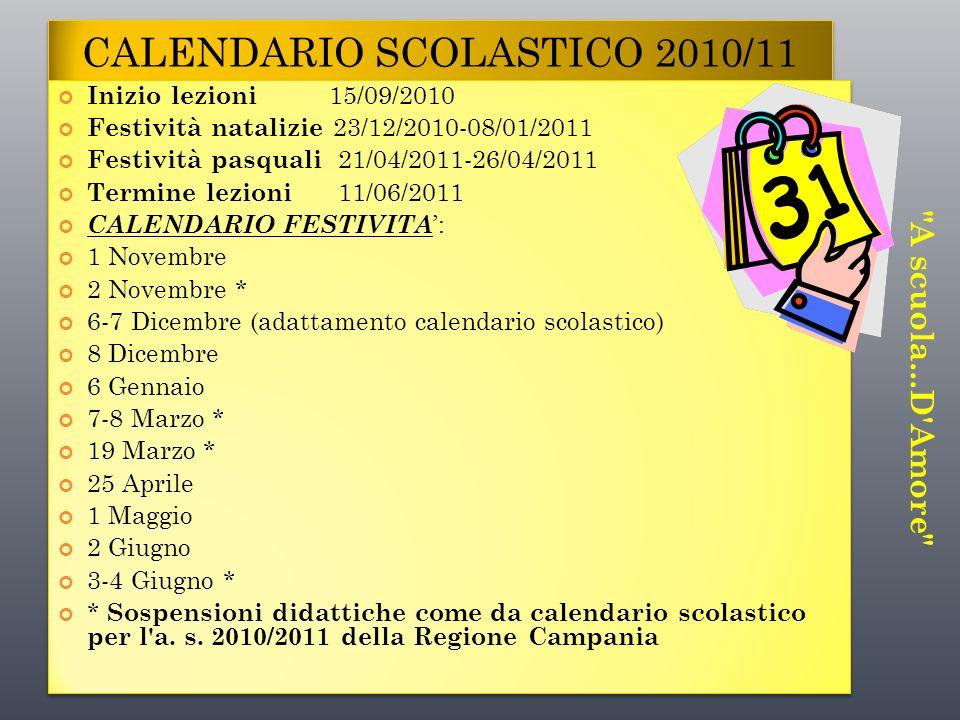 CALENDARIO SCOLASTICO 2010/11