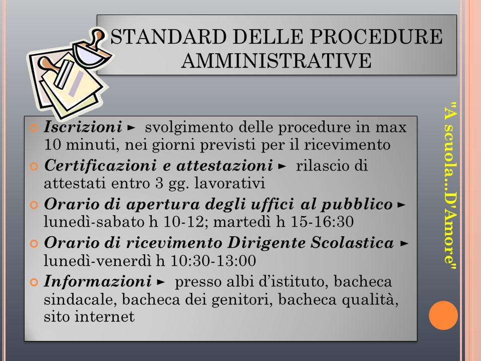 STANDARD DELLE PROCEDURE AMMINISTRATIVE