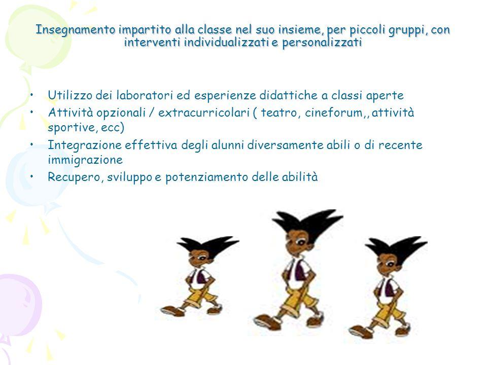 Insegnamento impartito alla classe nel suo insieme, per piccoli gruppi, con interventi individualizzati e personalizzati