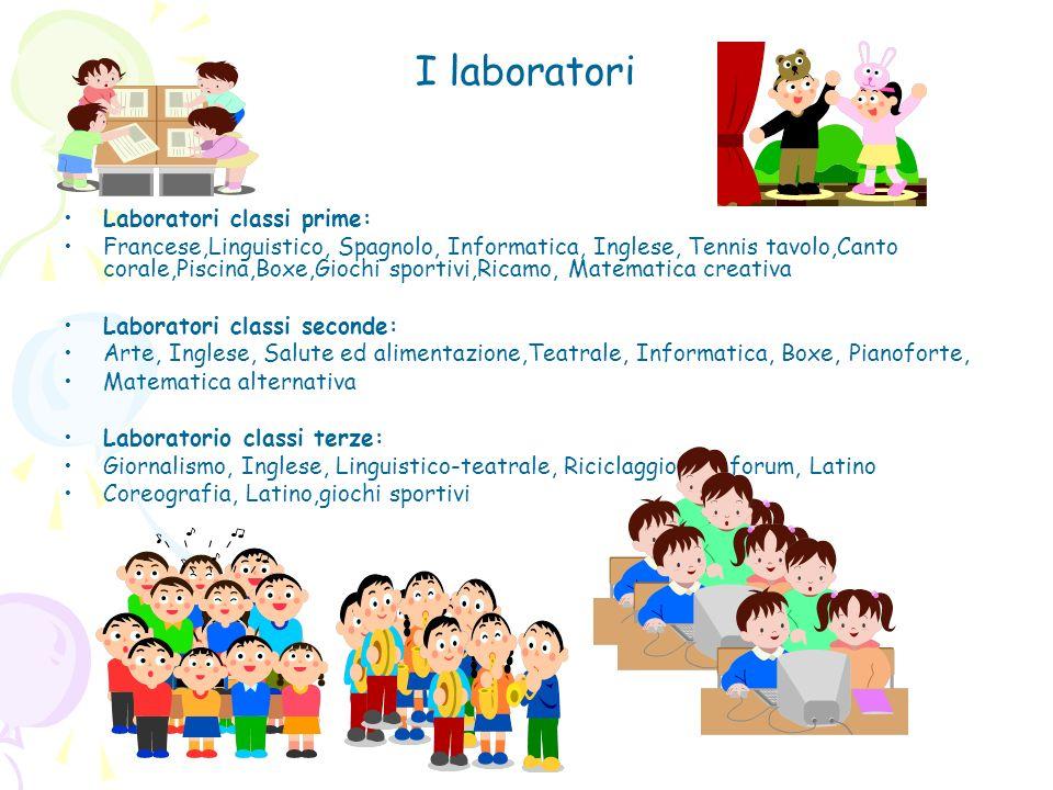 I laboratori Laboratori classi prime: