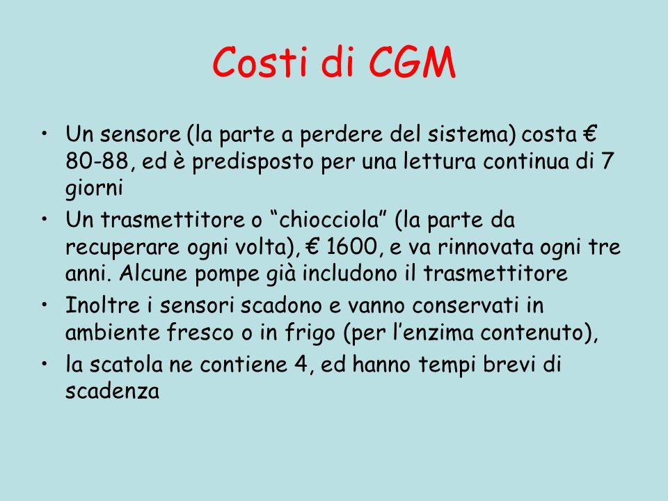 Costi di CGM Un sensore (la parte a perdere del sistema) costa € 80-88, ed è predisposto per una lettura continua di 7 giorni.