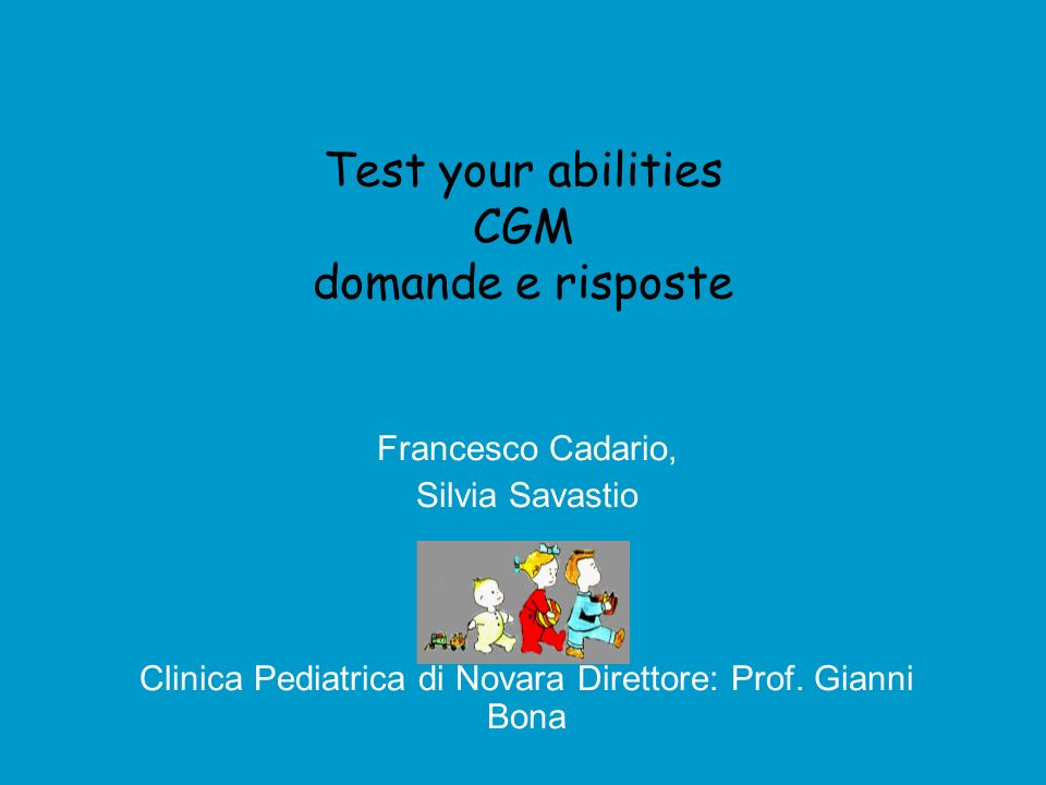 Test your abilities CGM domande e risposte