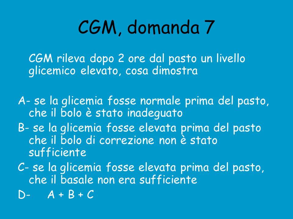 CGM, domanda 7 CGM rileva dopo 2 ore dal pasto un livello glicemico elevato, cosa dimostra.