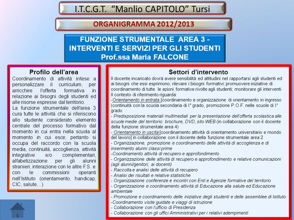FUNZIONE STRUMENTALE AREA 3 - INTERVENTI E SERVIZI PER GLI STUDENTI