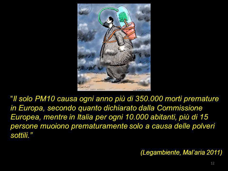 Il solo PM10 causa ogni anno più di 350