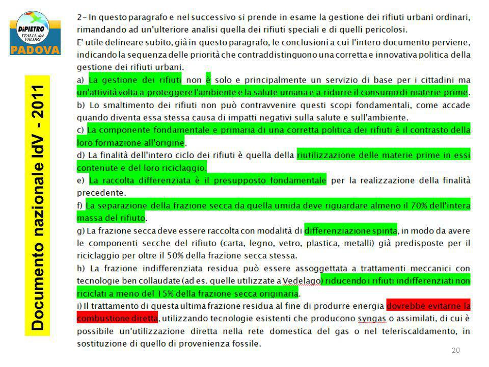 Documento nazionale IdV - 2011
