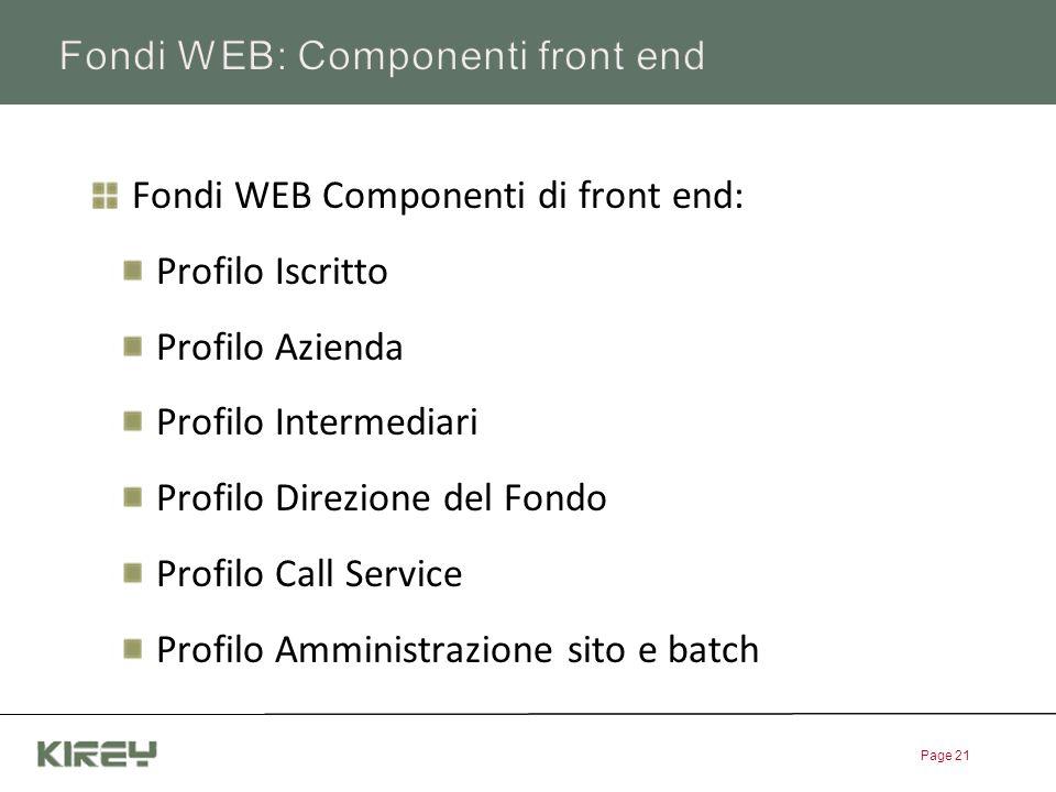 Fondi WEB: Componenti front end