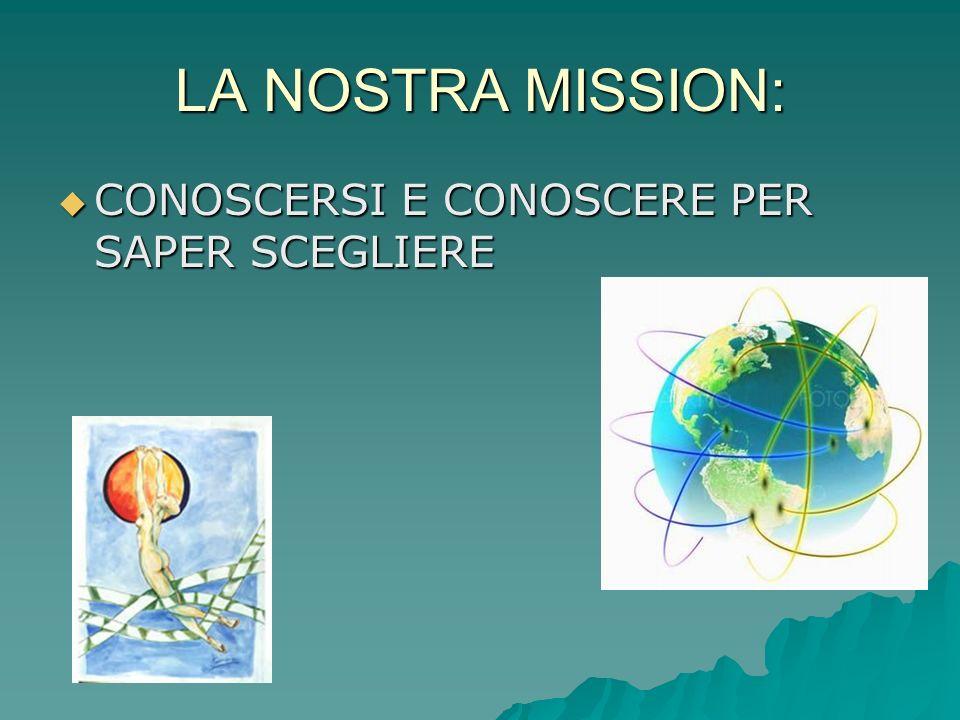 LA NOSTRA MISSION: CONOSCERSI E CONOSCERE PER SAPER SCEGLIERE