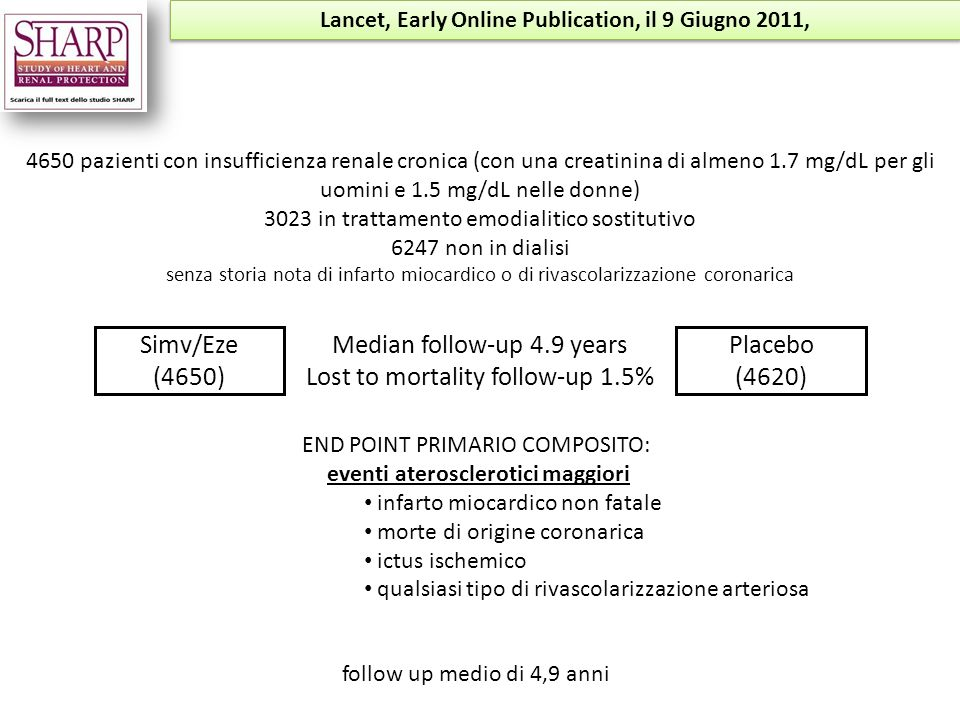 Lancet, Early Online Publication, il 9 Giugno 2011,
