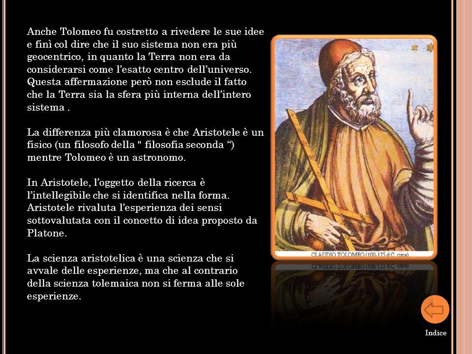 Anche Tolomeo fu costretto a rivedere le sue idee e finì col dire che il suo sistema non era più geocentrico, in quanto la Terra non era da considerarsi come l'esatto centro dell'universo.