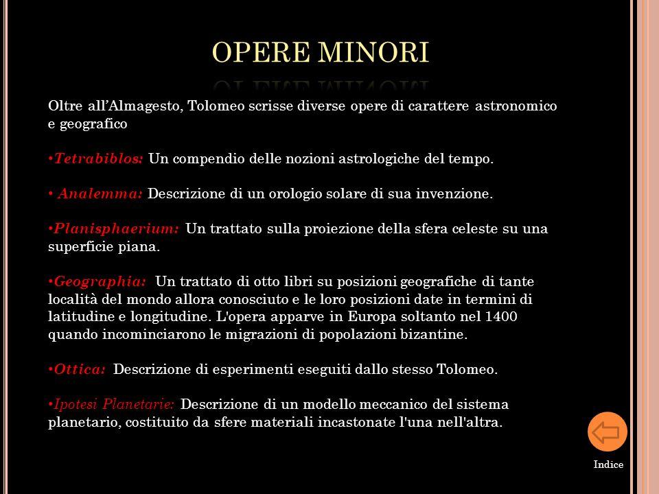 OPERE MINORI Oltre all'Almagesto, Tolomeo scrisse diverse opere di carattere astronomico e geografico.