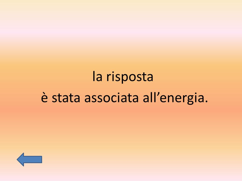 la risposta è stata associata all'energia.