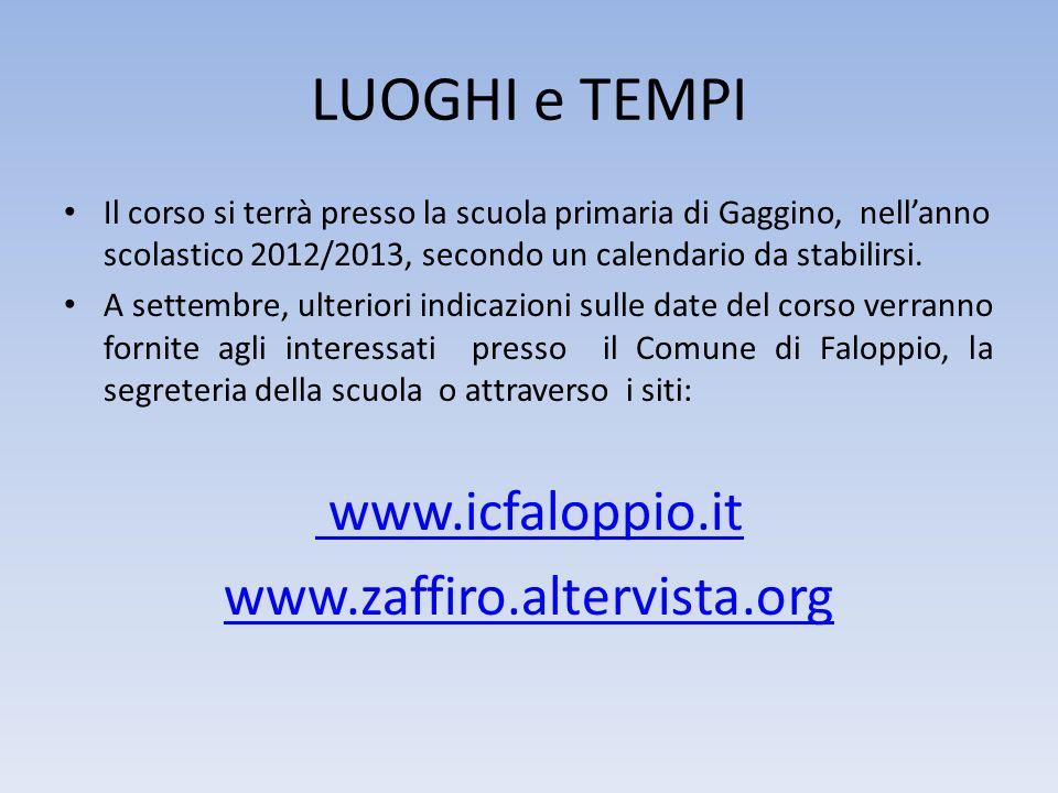 LUOGHI e TEMPI www.icfaloppio.it www.zaffiro.altervista.org