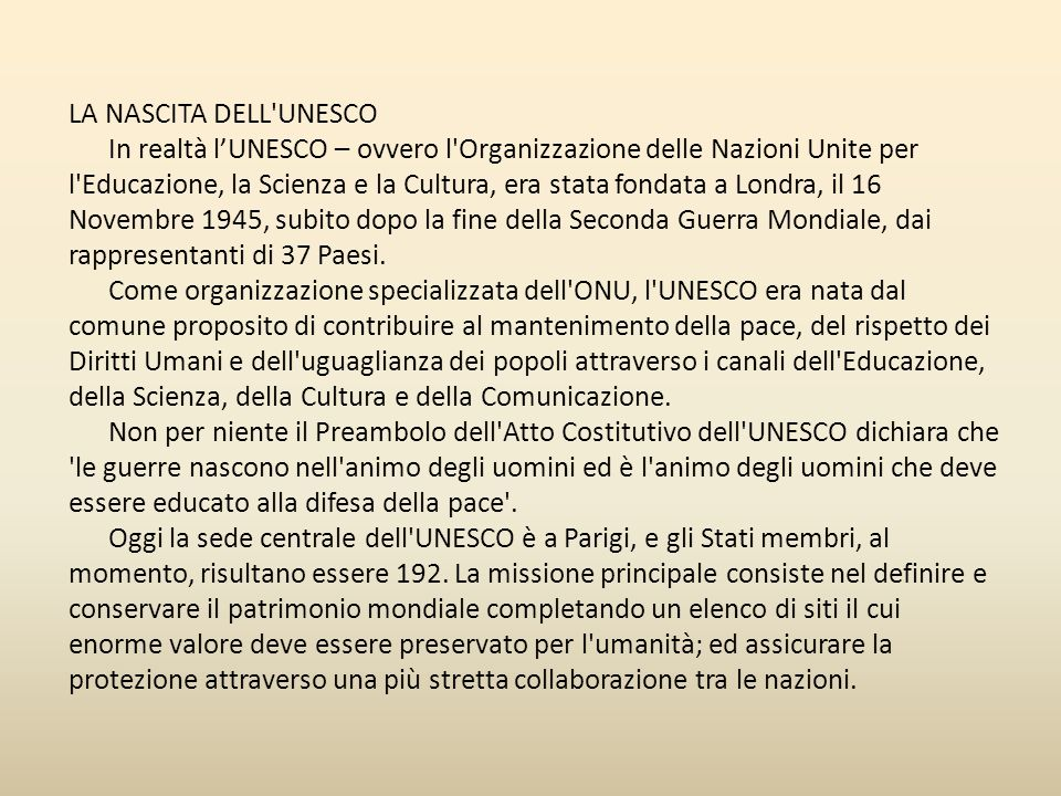 LA NASCITA DELL UNESCO