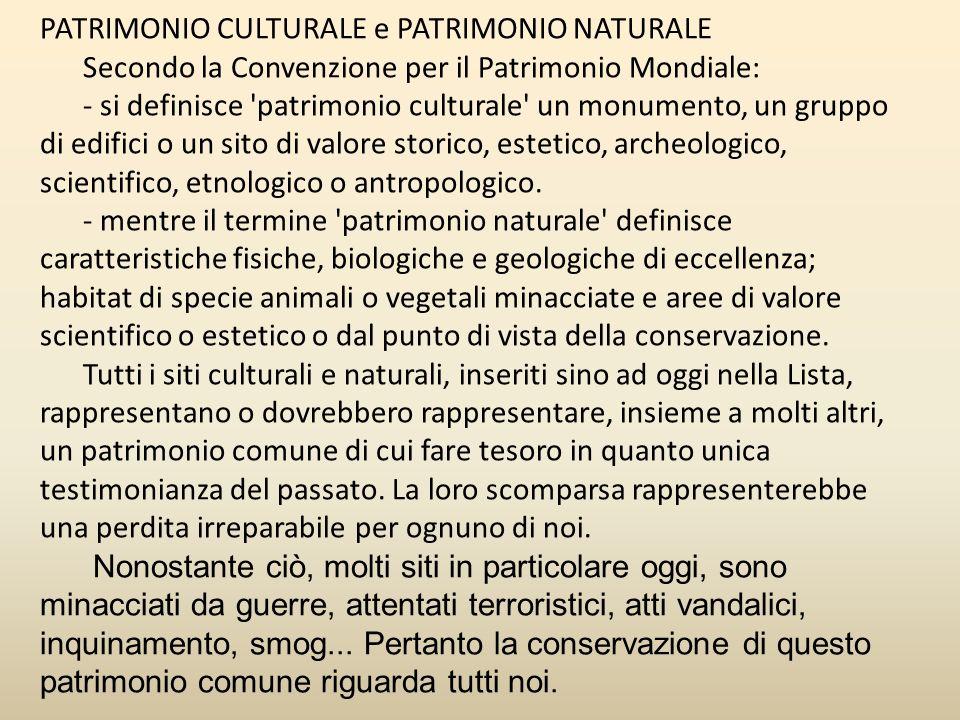 PATRIMONIO CULTURALE e PATRIMONIO NATURALE