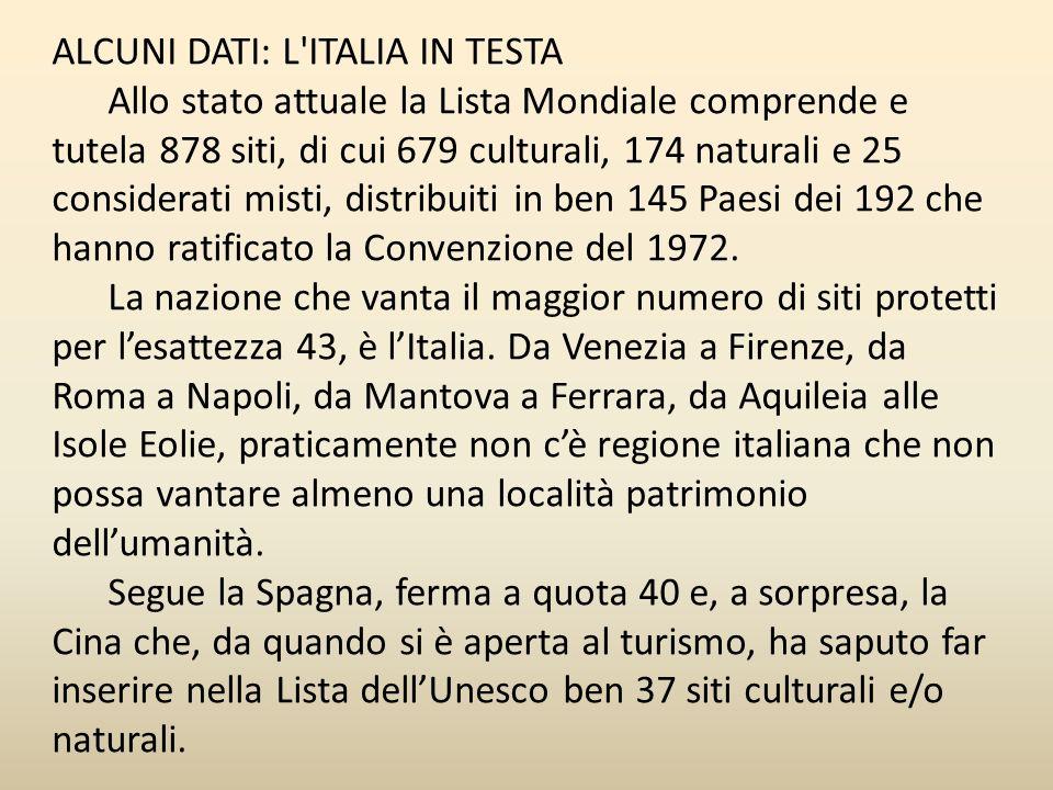 ALCUNI DATI: L ITALIA IN TESTA