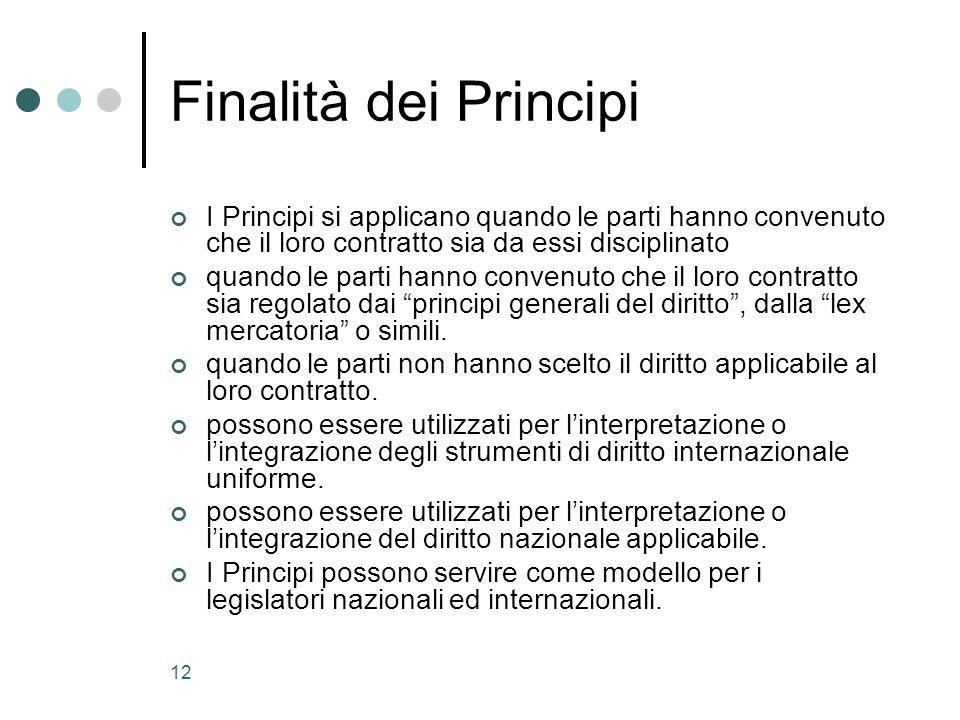 Finalità dei PrincipiI Principi si applicano quando le parti hanno convenuto che il loro contratto sia da essi disciplinato.