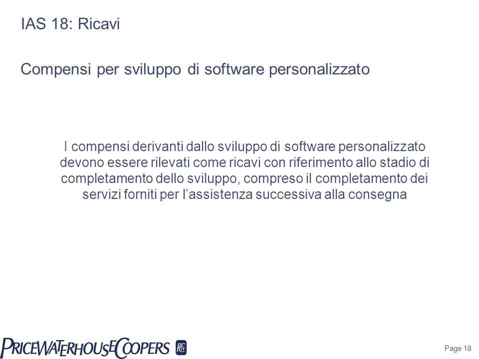 Compensi per sviluppo di software personalizzato