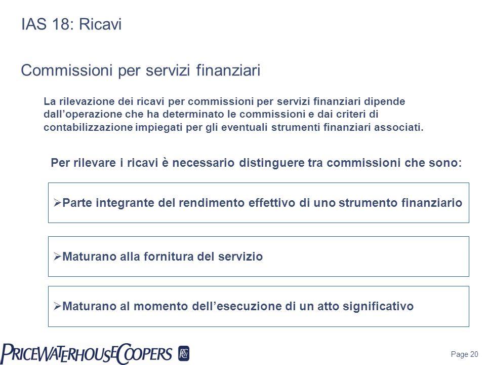 Commissioni per servizi finanziari