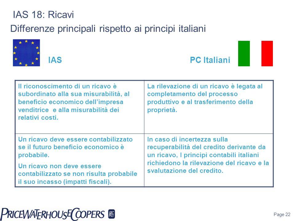 Differenze principali rispetto ai principi italiani