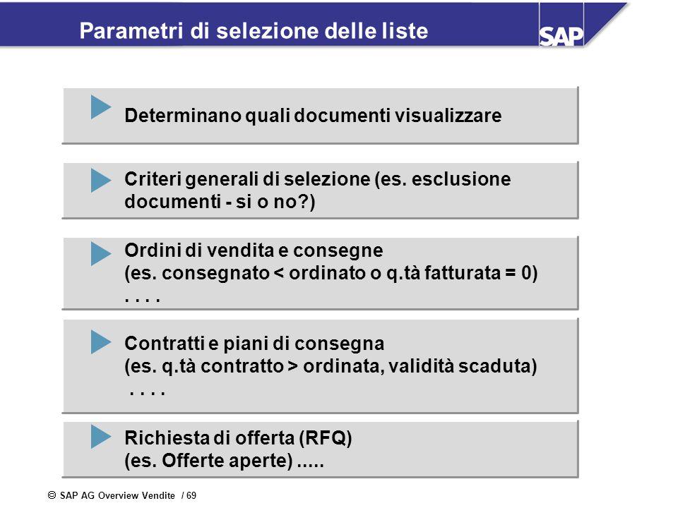 Parametri di selezione delle liste