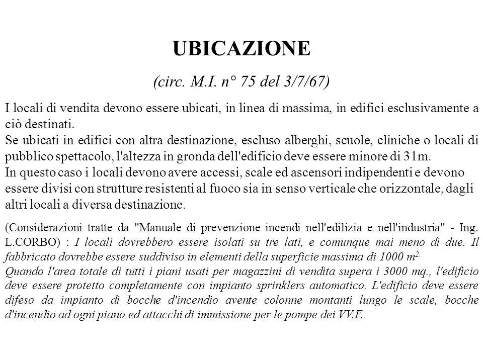 UBICAZIONE (circ. M.I. n° 75 del 3/7/67)