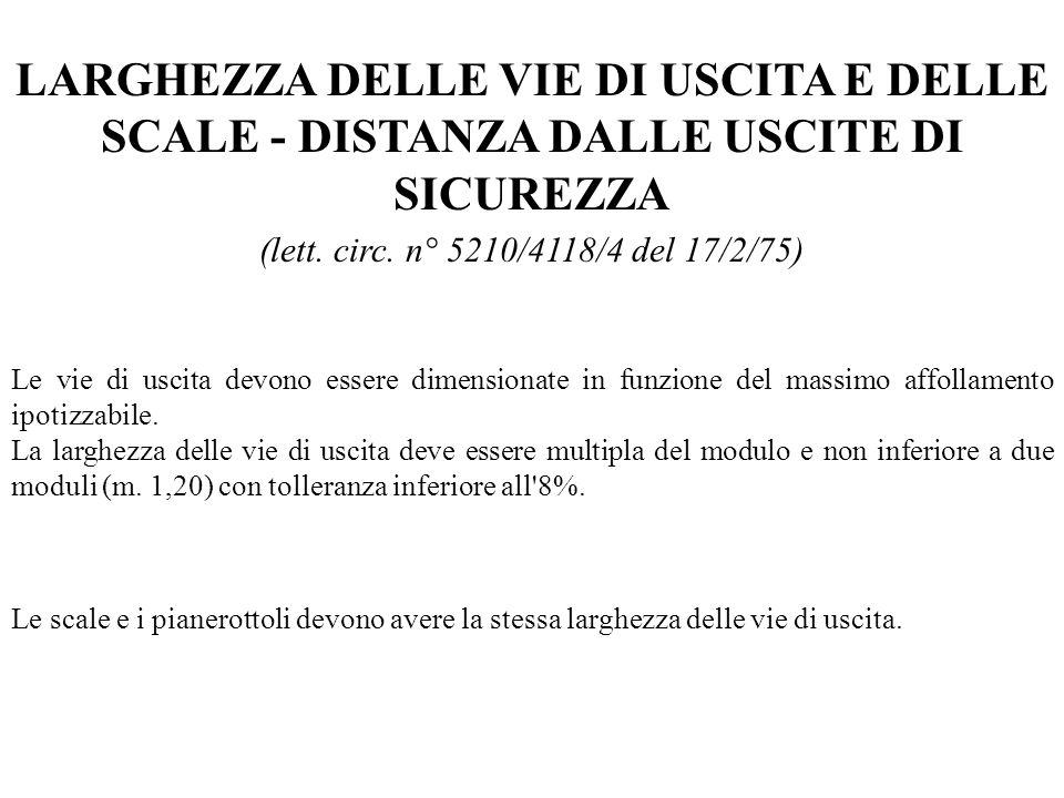 LARGHEZZA DELLE VIE DI USCITA E DELLE SCALE - DISTANZA DALLE USCITE DI SICUREZZA
