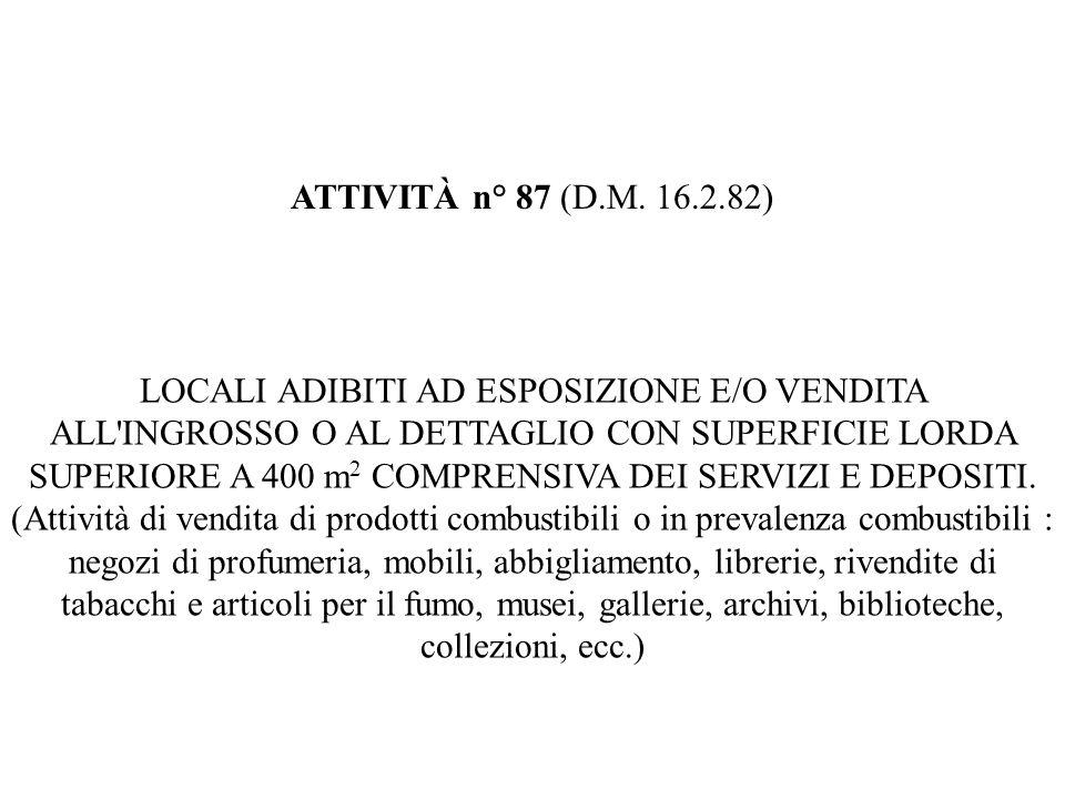ATTIVITÀ n° 87 (D.M. 16.2.82)