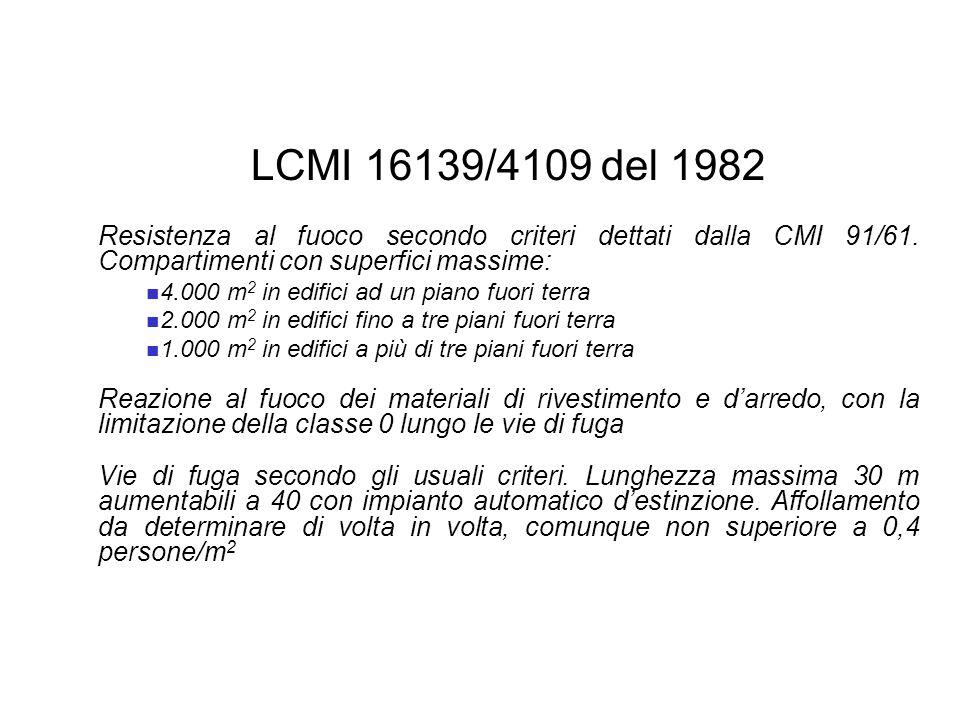 LCMI 16139/4109 del 1982 Resistenza al fuoco secondo criteri dettati dalla CMI 91/61. Compartimenti con superfici massime: