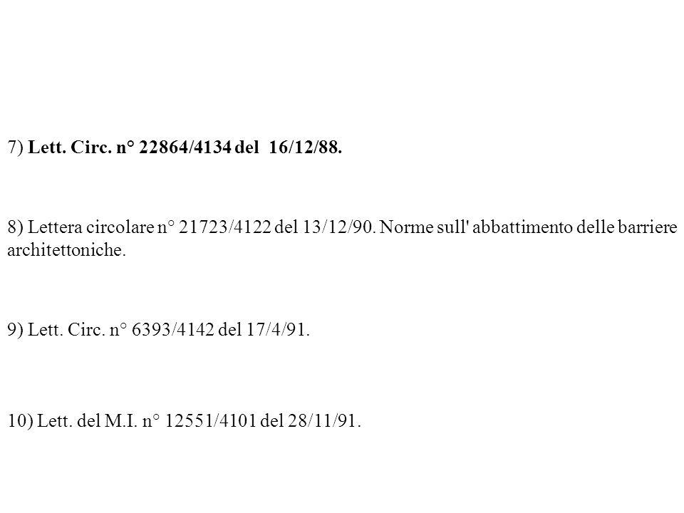 7) Lett. Circ. n° 22864/4134 del 16/12/88. 8) Lettera circolare n° 21723/4122 del 13/12/90. Norme sull abbattimento delle barriere architettoniche.