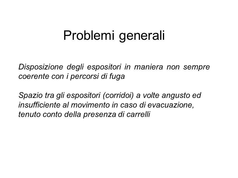 Problemi generali Disposizione degli espositori in maniera non sempre coerente con i percorsi di fuga.