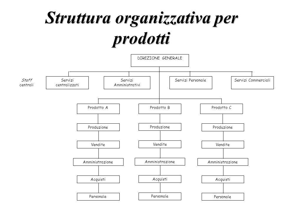 Struttura organizzativa per prodotti