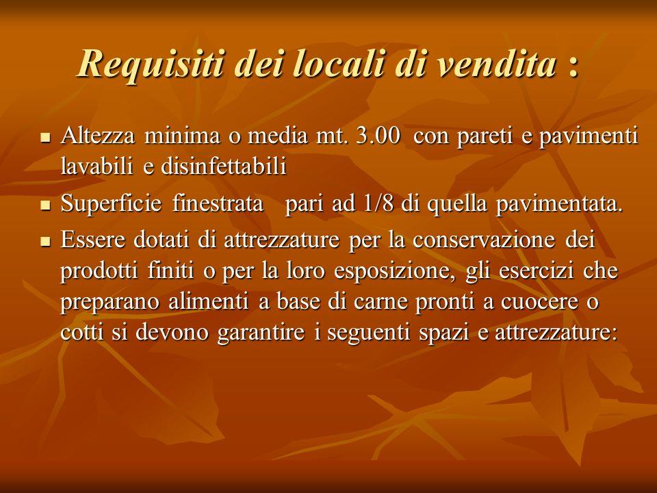 Requisiti dei locali di vendita :
