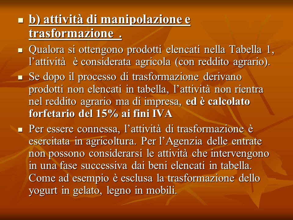 b) attività di manipolazione e trasformazione .