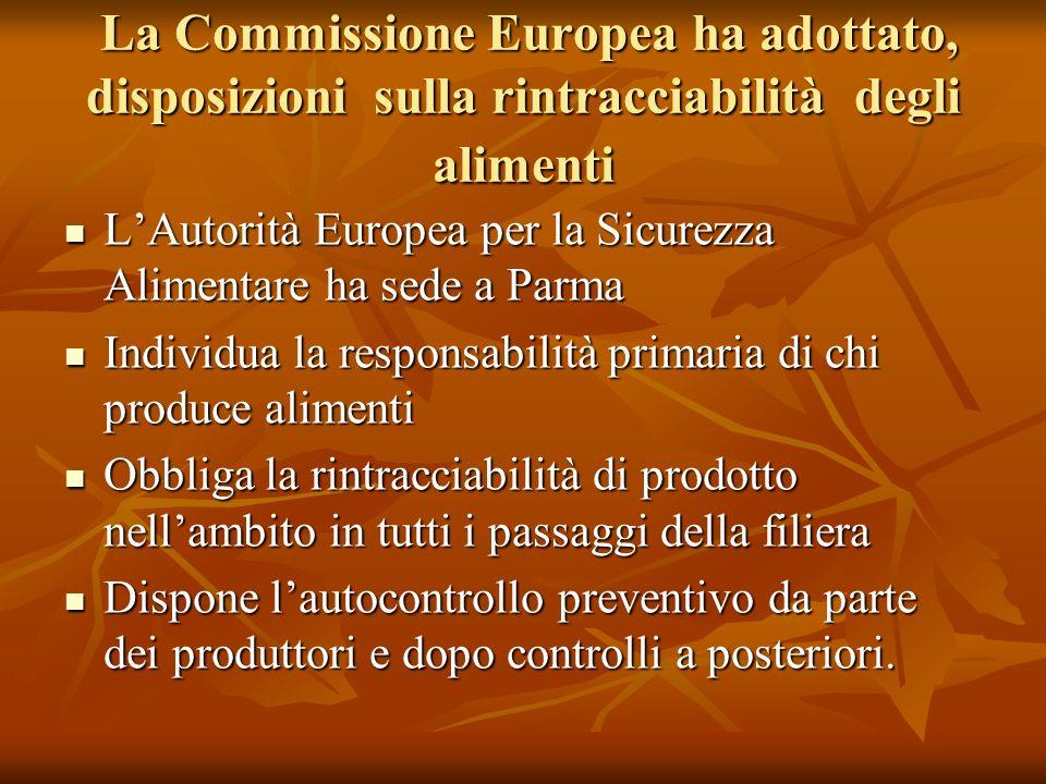 La Commissione Europea ha adottato, disposizioni sulla rintracciabilità degli alimenti