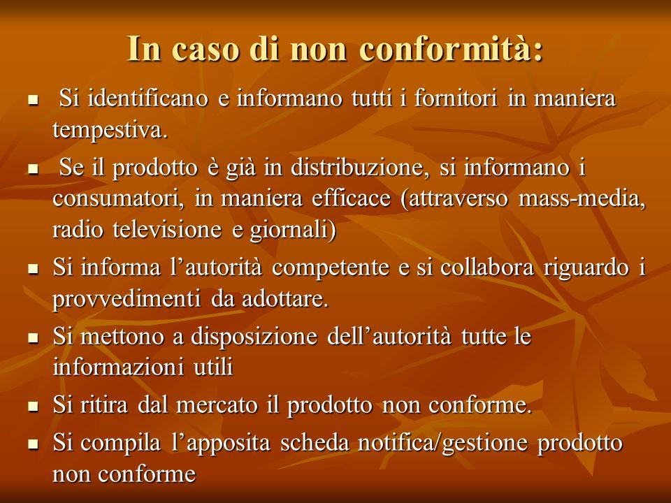In caso di non conformità: