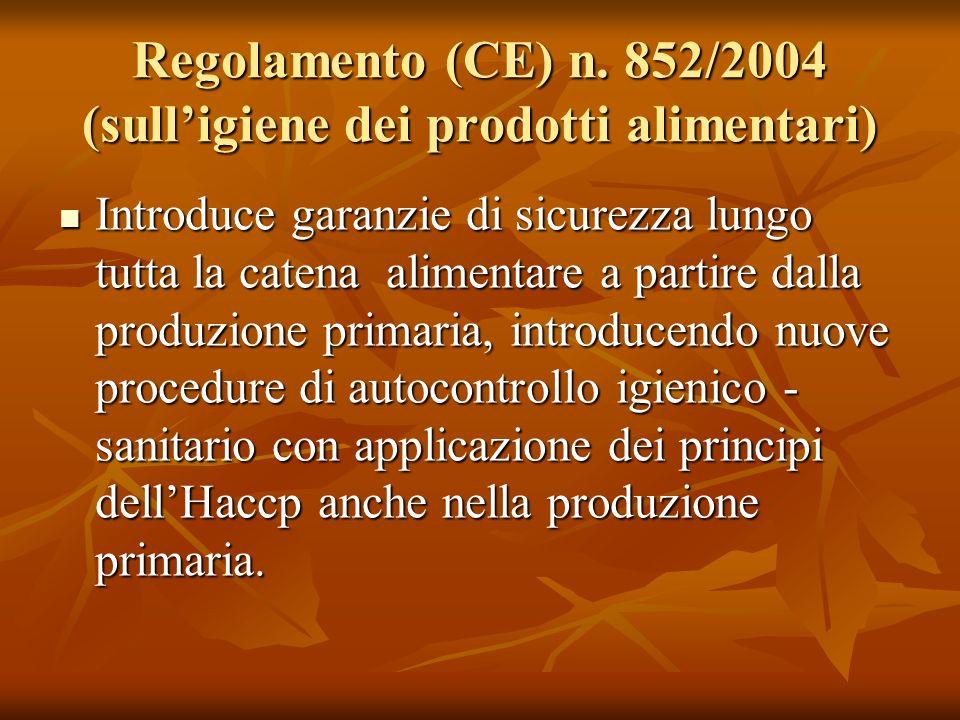 Regolamento (CE) n. 852/2004 (sull'igiene dei prodotti alimentari)