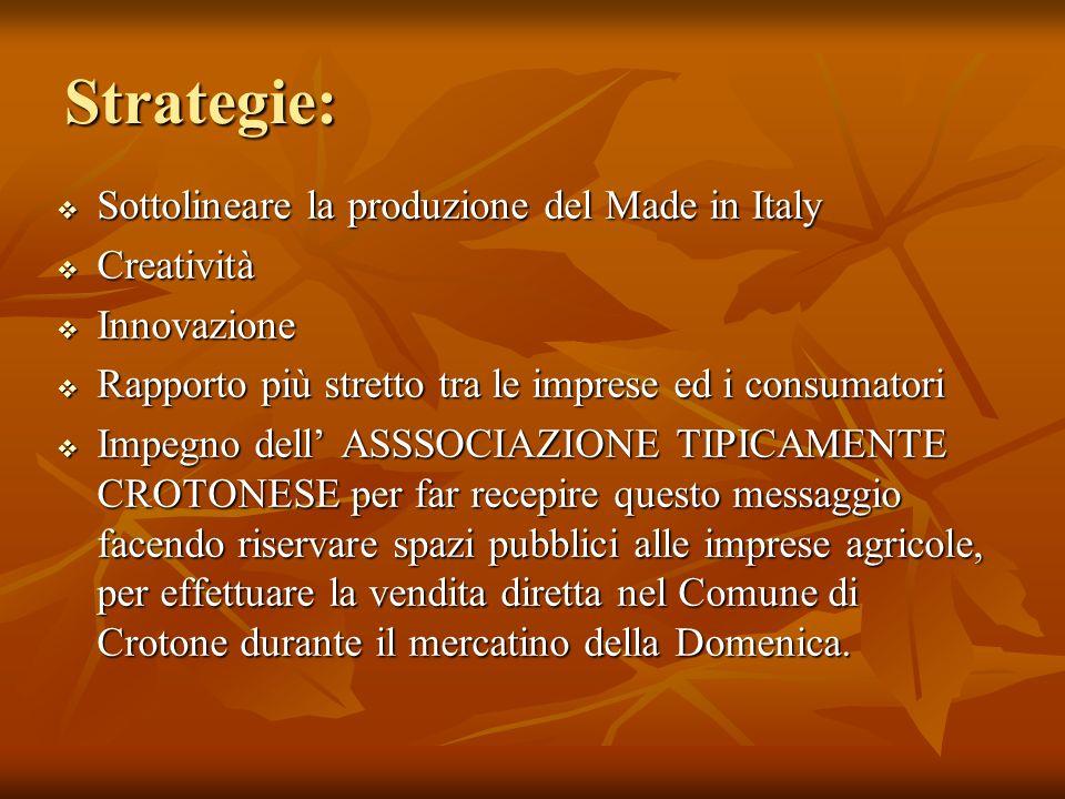 Strategie: Sottolineare la produzione del Made in Italy Creatività