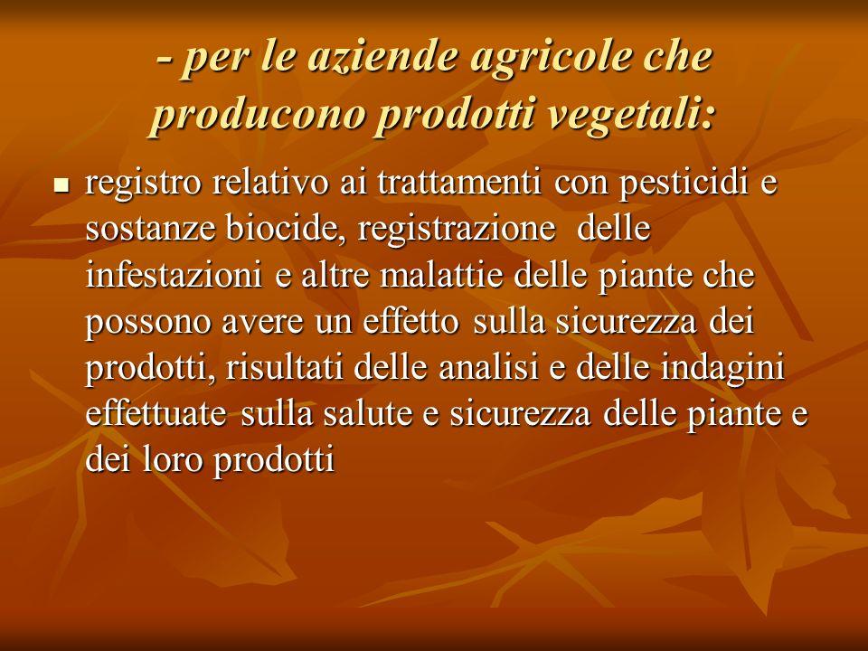 - per le aziende agricole che producono prodotti vegetali: