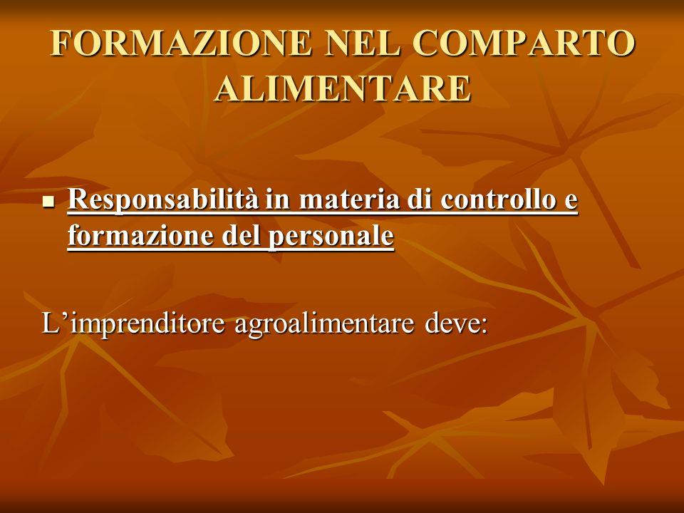 FORMAZIONE NEL COMPARTO ALIMENTARE