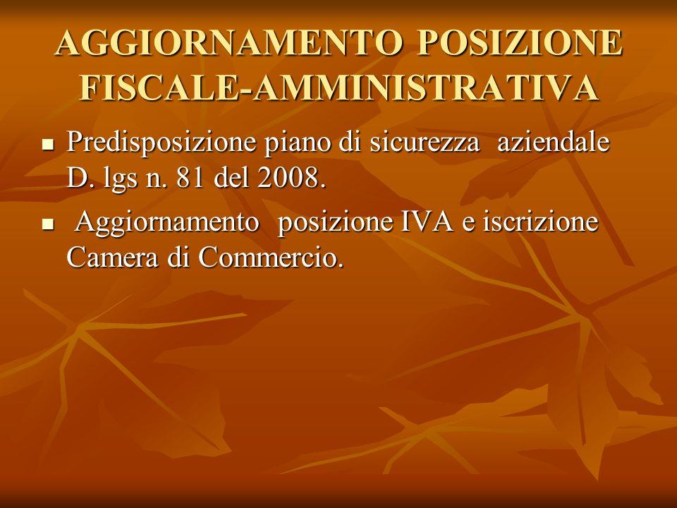 AGGIORNAMENTO POSIZIONE FISCALE-AMMINISTRATIVA