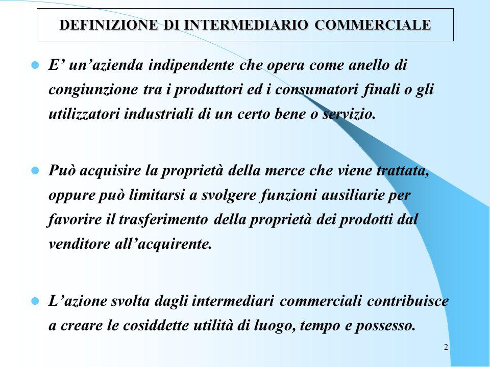 DEFINIZIONE DI INTERMEDIARIO COMMERCIALE