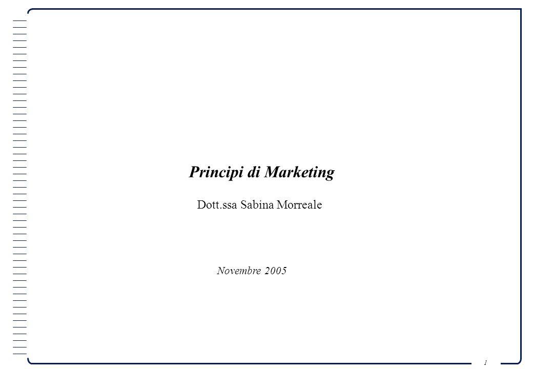 Principi di Marketing Dott.ssa Sabina Morreale Novembre 2005