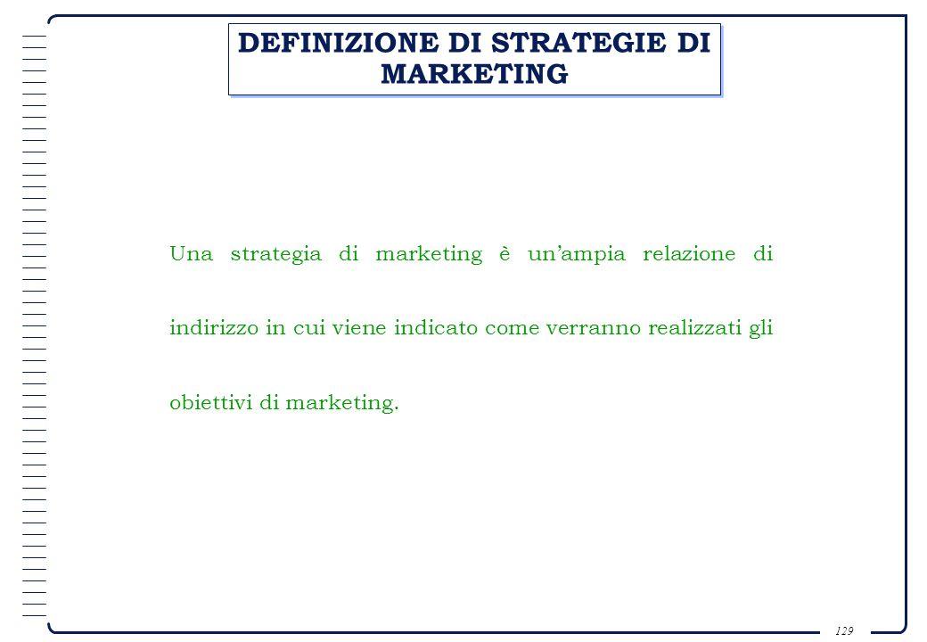 DEFINIZIONE DI STRATEGIE DI MARKETING