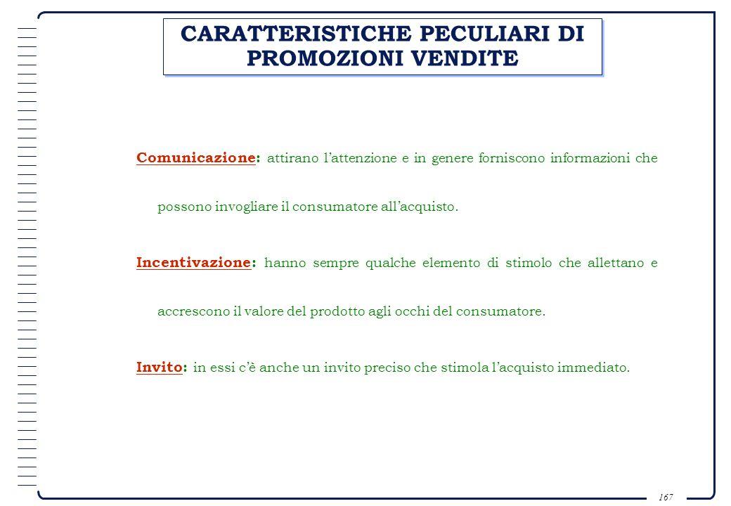 CARATTERISTICHE PECULIARI DI PROMOZIONI VENDITE